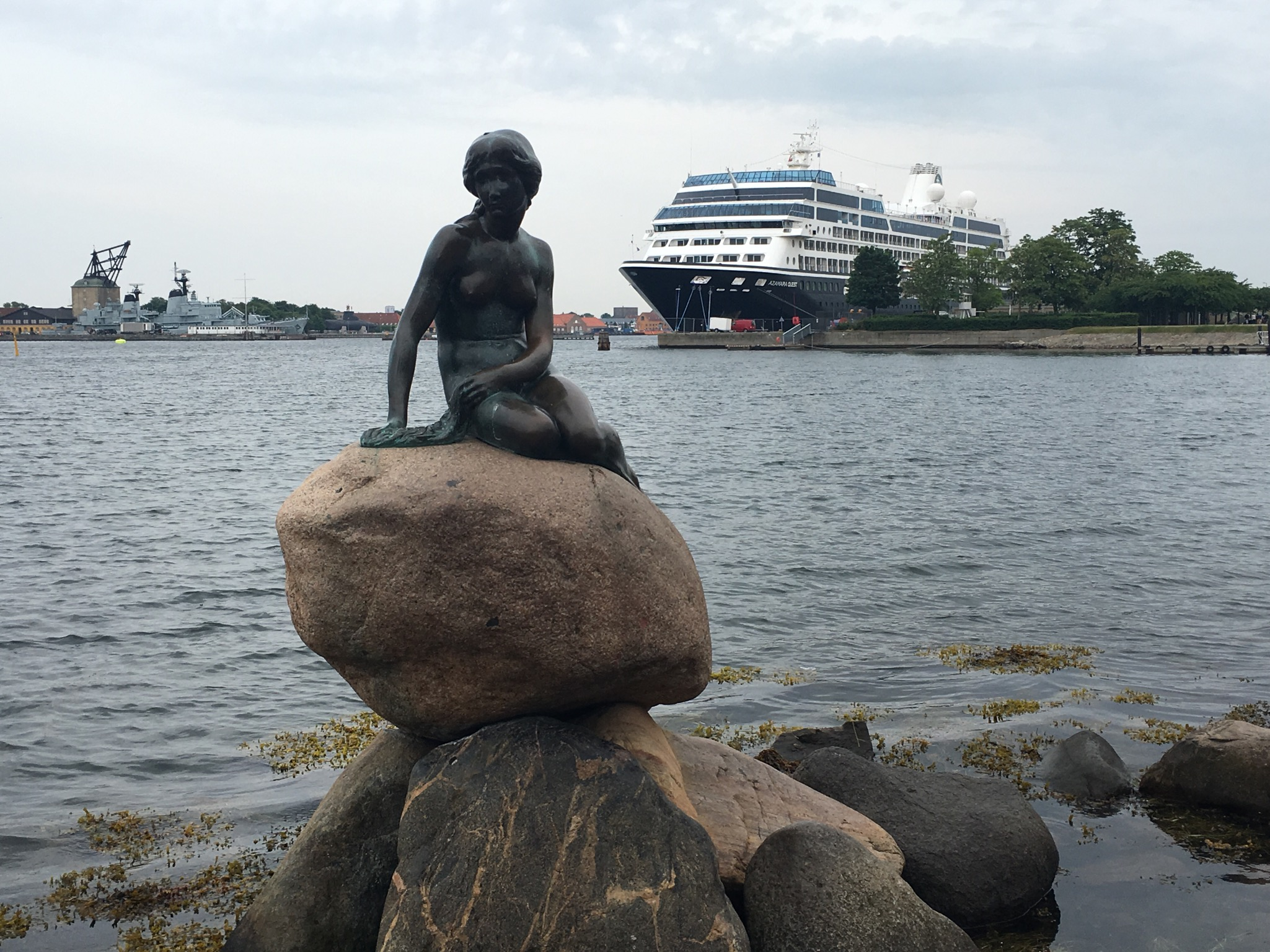 2016 Baltic Sea PerryGolf Cruise - Copenhagen - Another iconic location shot for Azamara Quest...this time with Copenhagen's famous little mermaid - PerryGolf.com
