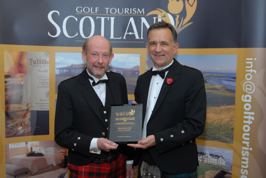 Nick Hunter (left), Chairman of Golf Tourism Scotland presents Colin Dalgleish, Co Founding Director of PerryGolf, with the Special Achievement Award November 5, 2009 at Turnberry Resort.
