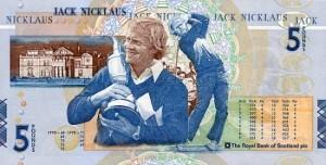 Royal Bank of Scotland's Jack Nicklaus Five Pound Commemorative Note