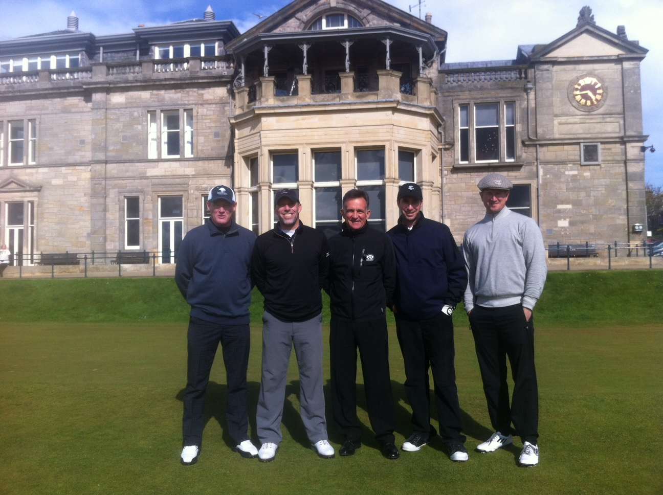 On the 1st tee of the Old Course at St Andrews - Left to Right: Tom June, Kevin Price, PerryGolf's Colin Dalgleish, Alan Shipnuck and Matt Ginella