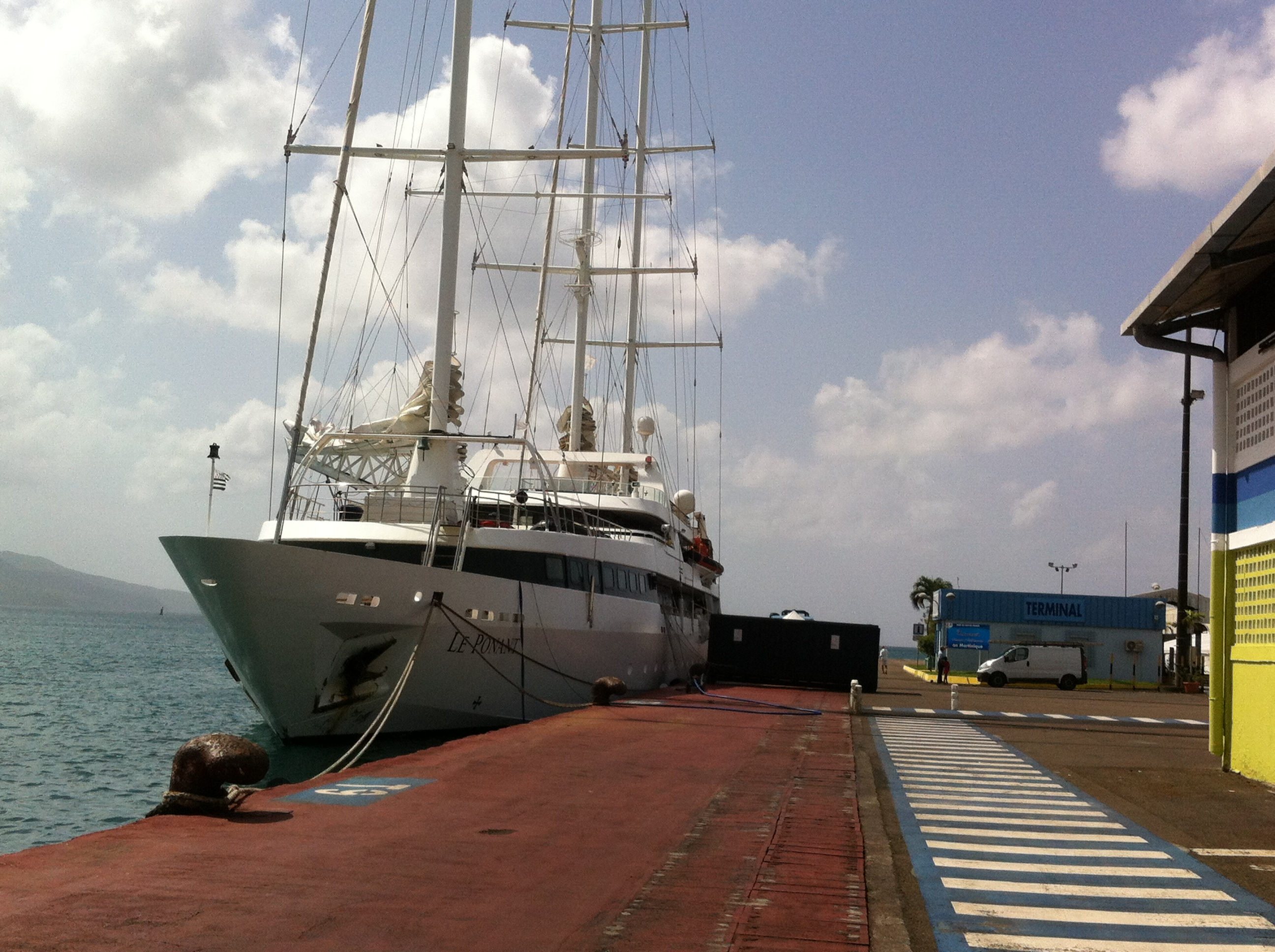 Le Ponant getting ready for her guests in Fort de France on January 18, 2014