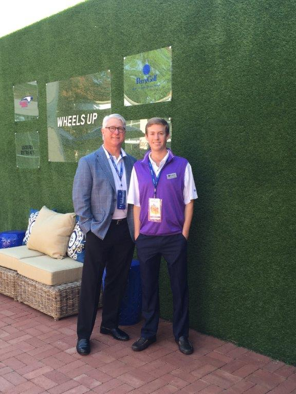 PerryGolf's Mark Barnes and Harrison Gould outside at the Wheels Up Masters Hospitality House