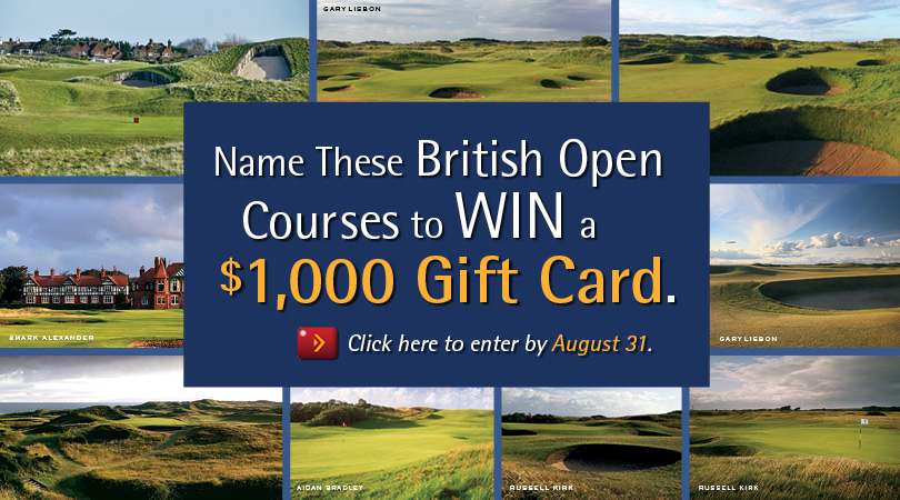 Name These British Open Courses to WIN a $1,000 Turtleson Gift Card from PerryGolf