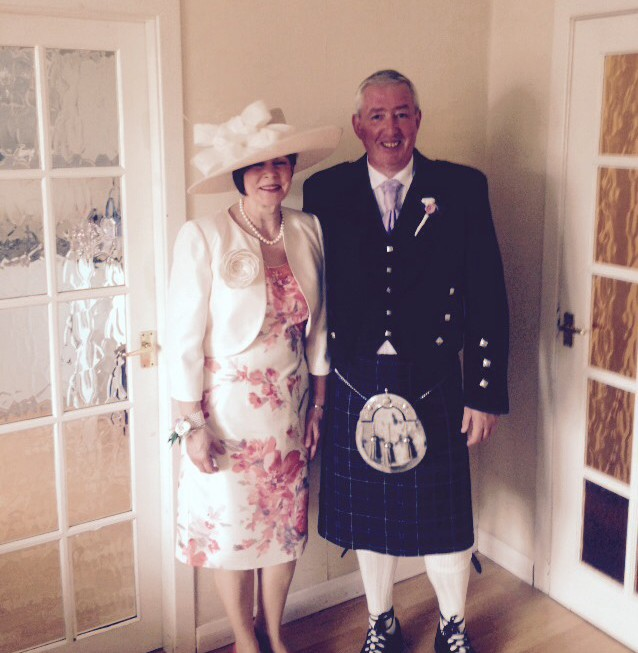 Joe Marshall & his wife Margaret at their son Kevin's wedding June 2015 Scotland