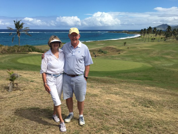 Royal St. Kitts Golf Club - No. 14 - Happy PerryGolf guests taking time out to enjoy the view! - PerryGolf.com