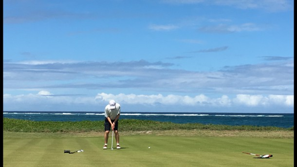 Royal St Kitts - No. 16 - Just a man alone with his putting thoughts - PerryGolf.com