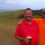 Father & son pairing of B. & C. Ackerman of Kalamazoo, Michigan toast their round at Kingsbarns Scotland