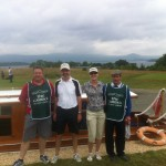 C. Dussault & M. Thibault of Canada are joined by their caddies at High Tide Cafe on The Carrick Loch Lomond.