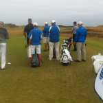 #1 tee at Kingsbarns. Caddies at the ready. Always a great place to play.