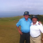 J. Weatherall of Blufton SC, former production director for the TV series The Love Boat, and C. Ferrara also of Blufton SC pose at Kingsbarns in matching sun hats.