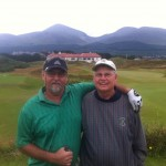 Father & son pairing of F. & J. Lewis from the USA for our day at the always magnificent Royal County Down Golf Club — in Northern Ireland.