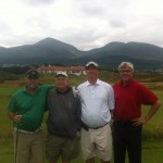 Father & son pairing of F. & J. Lewis from the USA joined up with K. Delwaide & A. Rendeau of Canada for our day at the always magnificent Royal County Down Golf Club — in Northern Ireland.