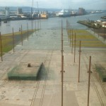 A great view, from the Titanic Belfast Center, of the build and launch site of the Titanic, the poles marking th exact area where Titanic sat during construction. PerryGolf's Azamara Quest lines up in the background (-: