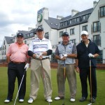 C. Krandel, G. Baldwin and R. and J. Fisher about to head out on Carnoustie Golf Links. — in Carnoustie, Scotland.