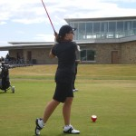 D. Bishop lets rip off the 1st at Carnoustie Golf Links! — in Carnoustie, Scotland.