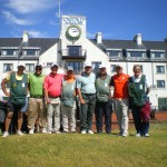 T. Thompson, J. Johnson, S. Thompson and S. Mack (head pro at Houstonian) with their caddies after their round at Carnoustie Golf Links. — in Carnoustie, Scotland.