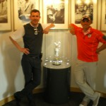 PerryGolf's Keith Baird and Houstonian's S. Mack with the Claret Jug at Carnoustie Golf Links. — in Carnoustie, Scotland.