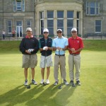 D. Levy, S. Spencer, S. Carter and W. Carter about to tee off on the Old Course at St Andrews. — in St Andrews, Scotland.