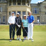 Mr. and Mrs. Honeycutt and Mr. and Mrs. Baca about to tee off on the Old Course at St Andrews. — in St Andrews, Scotland.