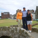 Houstonian's S. Mack with D. Bishop and L. Tinley on the Swilcan Bridge at the Old Course at St Andrews. — in St Andrews, Scotland.