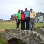 S. Orr, J. Johnson and J. and F. Mott on the Swilcan Bridge at the Old Course at St Andrews. — in St Andrews, Scotland.