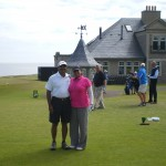 Mr. and Mrs. Venkatesh head out in the sunshine at Kingsbarns Golf Links. — in St Andrews, Scotland.