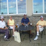 Mr. and Mrs. Sawyer and Mr. and Mrs. Todd enjoying a well earned refreshment after their round at Kingsbarns Golf Links. — in St Andrews, Scotland.