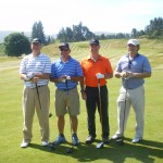 G. Baldwin, R. and J. Fisher and I. Leiber about to play the Kings Course at Gleneagles. — at The Kings Course, Gleneagles.