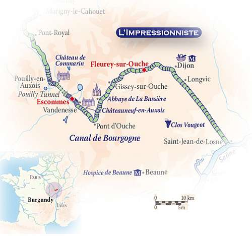 Burgundy Golf Cruise ~ Fleurey Sur Ouche to Escommes on L'Impressionniste