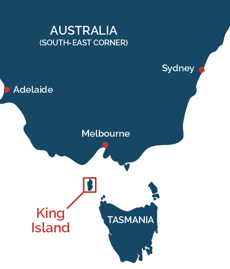 King Island in relation to Australia