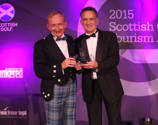 PerryGolf Co-Founder, Colin Dalgleish, receives Special Recognition Award from Mike Cantlay at 2015 Scottish Golf Tourism Awards