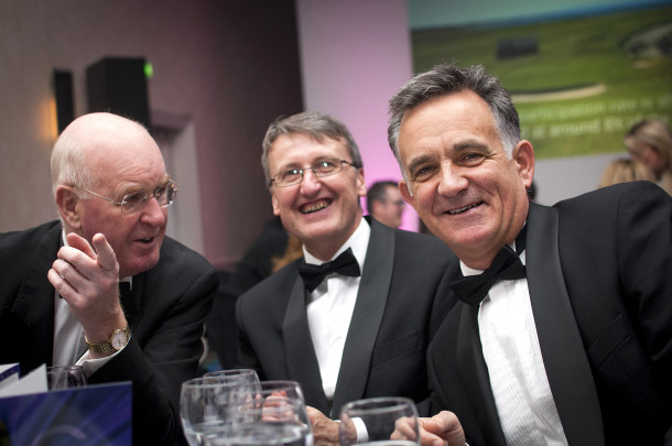 PerryGolf's Graham Reid and family friend John Steele join PerryGolf Co-Founder, Colin Dalgleish, in celebrating his receipt of a Special Recognition award at the 2015 Scottish Golf Tourism Awards