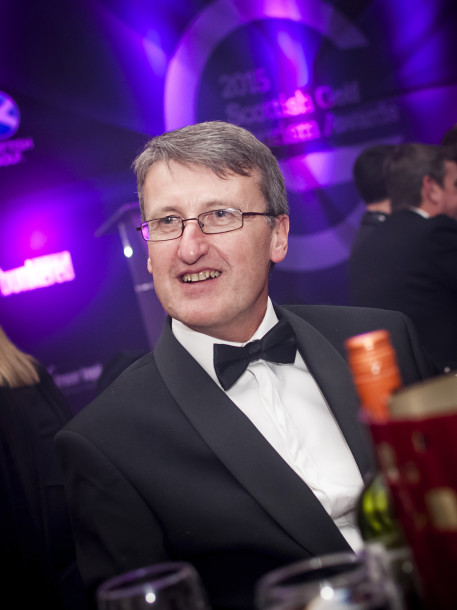 PerryGolf's Graham Reid joins PerryGolf Co-Founder, Colin Dalgleish, in celebrating his receipt of a Special Recognition award at the 2015 Scottish Golf Tourism Awards