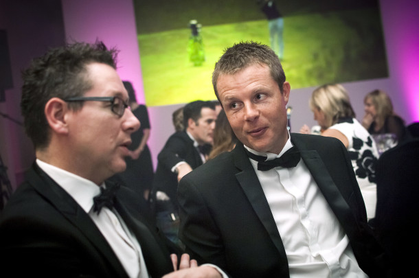 PerryGolf's Cameron Reid and close friend Graeme Dawson join PerryGolf Co-Founder, Colin Dalgleish, in celebrating his receipt of a Special Recognition award at the 2015 Scottish Golf Tourism Awards