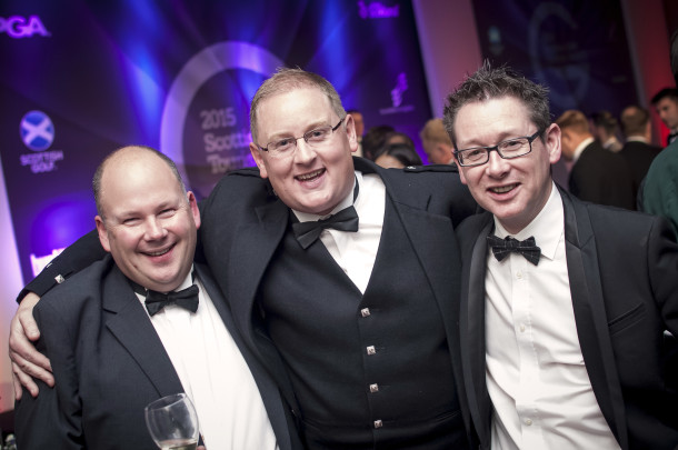 PerryGolf Travel Experts - Alastair Niven, Gary Sheppard, and Cameron Reid - join PerryGolf Co-Founder, Colin Dalgleish, in celebrating his receipt of a Special Recognition award at the 2015 Scottish Golf Tourism Awards