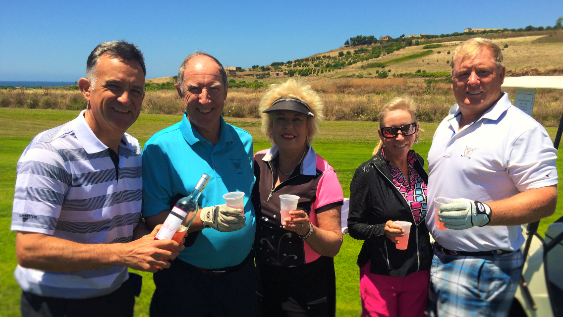 PerryGolf's Co-Founding Director, Colin Dalgleish, at Verdura Golf Resort with happy PerryGolf guests during our Mediterranean Golf Cruise - PerryGolf.com