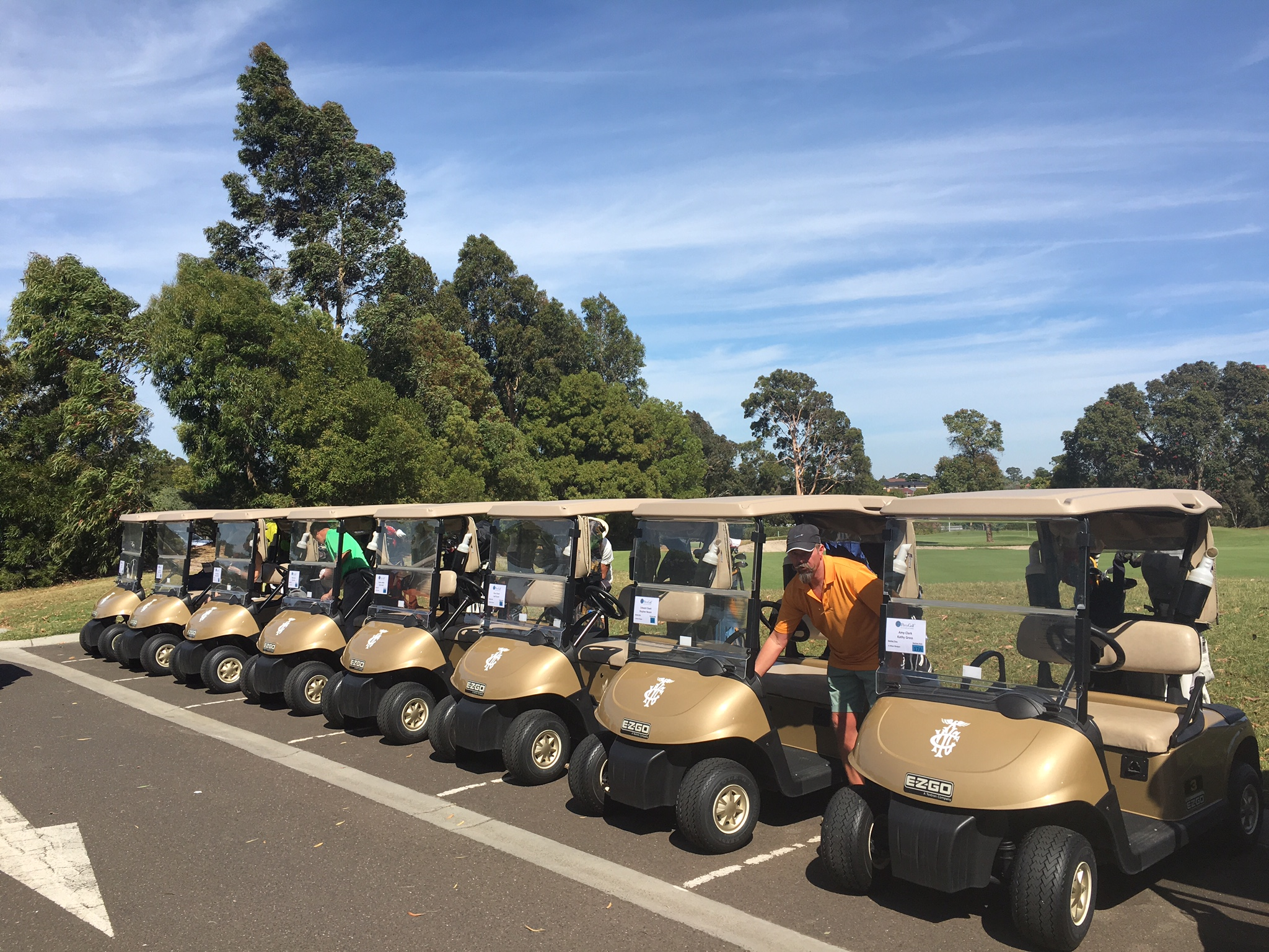 Carts ready for PerryGolf guests at Yarra Yarra Golf Club, Australia during our 2016 Australasia Golf Cruise!
