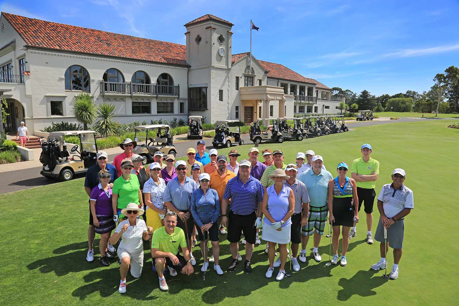 PerryGolf guests gathered at Yarra Yarra Golf Club, Australia during our 2016 Australasia Golf Cruise - Photo by Gary Lisbon - PerryGolf.com