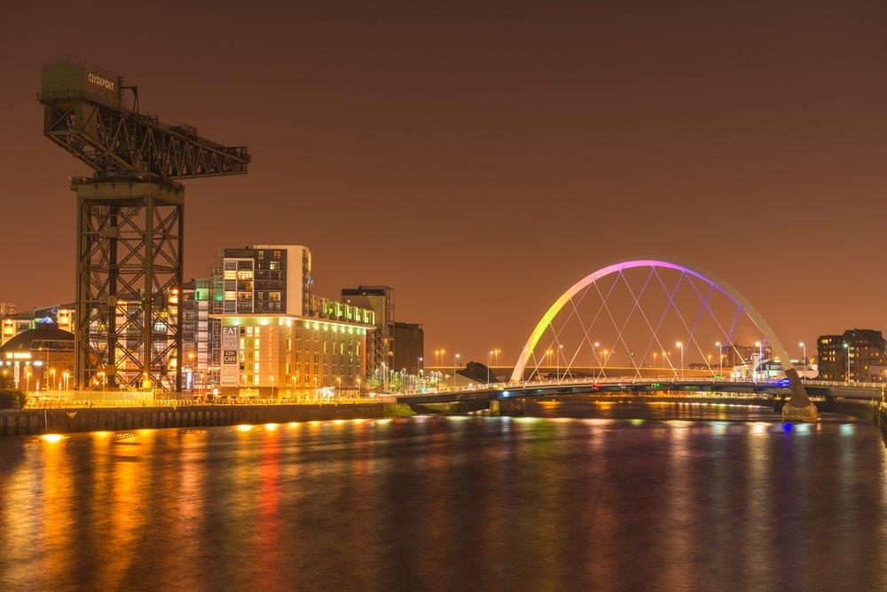 Arc Bridge and Landmark Crane on the River Clyde, Glasgow