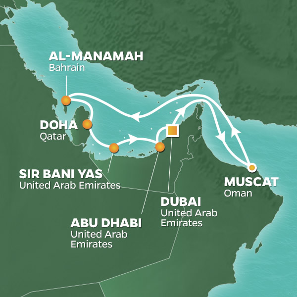 2020 Arabian Gulf Golf Cruise Map