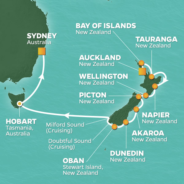 2020 New Zealand Tasmania Sydney Golf Cruise 15 Nights