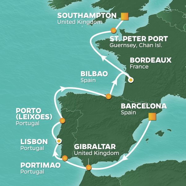 Map Of Spain And Portugal And France.2020 Spain Portugal France Golf Cruise Perrygolf