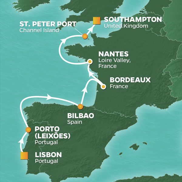 Map Of Portugal Spain France.2021 Portugal Spain And France Golf Cruise Lisbon Southampton